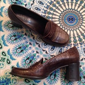 Franco Sarto 7 Brown Crocodile Block Heel Loafers